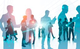 Business people in city, binary code royalty free stock photo