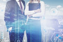 Business people in city digital business interface stock photos