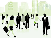 Business people and city in green. Vector illustration of business people and city in green Royalty Free Stock Photos