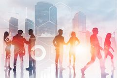 Business people in city, business interface stock photos