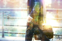 Business people City of London.  Multiple exposure image. Royalty Free Stock Images