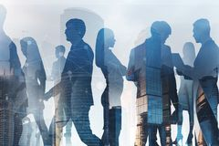 Business people in city, network interface royalty free stock photo