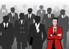 Business people of the city. Silhouettes of business people walking in fashionable coats and suits with cases Royalty Free Stock Image