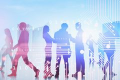 Business people in city, smart city concept royalty free stock image