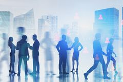 Business people in city, social connection royalty free stock images