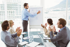 Business people clapping hands in board room meeting Royalty Free Stock Image