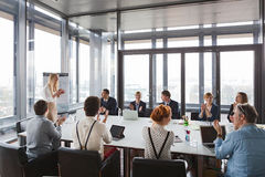 Business people clapping hands after successful meeting Royalty Free Stock Images
