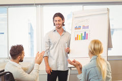 Business people clapping for male colleague Stock Image