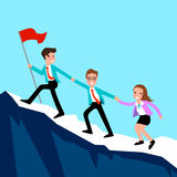 Business people climb the mountain. Business people climb to the top of the mountain stock illustration