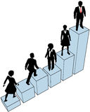 Business people climb stand on chart. Business people climb a company growth bar chart to help build market share Royalty Free Stock Photos