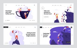 Free Business People Climbing On Mountain, Office Workers On Coffee Break Website Landing Page Set, Characters Sit On Cup Stock Photography - 163737022