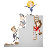 Business people climbing the social ladder. Vector illustration of a group of cartoon business men and women trying to climb the social ladder whilst sabotaging Stock Images