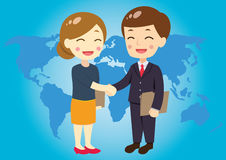 Business people closing a deal. Man and woman closing a deal Stock Photos