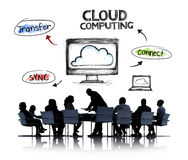 Business People and Cloud Computing Concepts. Business People in a Meeting and Cloud Computing Concepts Royalty Free Stock Photo