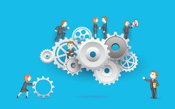 Business People on Cog Wheel. Illustration of business people on cog wheel showing team work Stock Images
