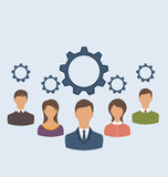 Business people with cogwheels, business teamwork Royalty Free Stock Photo