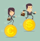 Business people on the coins run. Business people run a race on the currency, the concept of currency exchange rates Royalty Free Stock Image