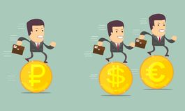 Business people on the coins run Stock Images