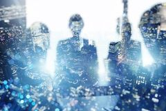 Business people collaborate together in office. Double exposure effects. royalty free stock images