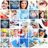 Business people collage. Accounting and technology background stock photos