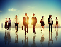 Business People Colleagues Walking Commuting Concept Stock Image