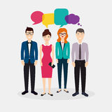 Business people with colorful dialog speech.  Royalty Free Stock Photos
