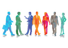 Business people. Colorful illustration of a group of smartly dressed business people some talking and some walking, white background stock images