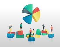 Business people and colourful pie chart segments Royalty Free Stock Images