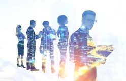 Business people in night city Stock Illustration