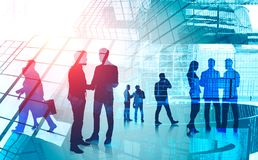 Business people communicating in city. Silhouettes of business people communicating and shaking hands over abstract city background with skyscrapers. Concept of vector illustration
