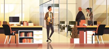 Business people communicating concept modern coworking office interior creative workplace male female cartoon character vector illustration