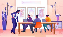 Business People Communicating in Modern Office. royalty free illustration