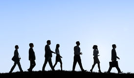 Business People Commuter Walking Outdoors Hill Travel Concept Royalty Free Stock Photo