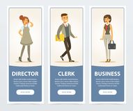 Business people, company staff, director, clerk, business banners for advertising brochure, promotional leaflet poster. Presentation flat vector elements for royalty free illustration