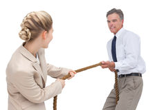 Business people competing in pulling rope Stock Photos