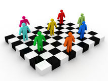 Business people competition on chessboard Royalty Free Stock Images