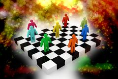 Business people competition on chessboard Royalty Free Stock Photography