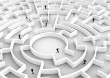 Business people competition - finding a solution of the maze., one winner. Stock Photo