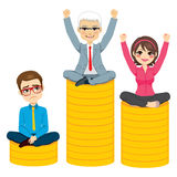 Business People Competition Podium Concept. Of senior man winning woman on second place and young businessman in last place Stock Photography