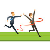 Business people competition, two businessman crossing the finish line vector Illustration. Isolated on a white background Royalty Free Stock Image