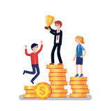 Business people competitors celebrating success. Business people competitors standing on a winner podium celebrating success and holding golden cup award. Modern Stock Photo