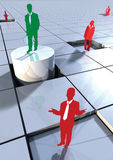 Business people concept on 3d blocks 1. Business concept with people on 3d blocks depicting success or winner Stock Images