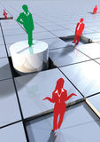Business people concept on 3d blocks 3. Business concept with people on 3d blocks depicting success or winner Royalty Free Stock Image