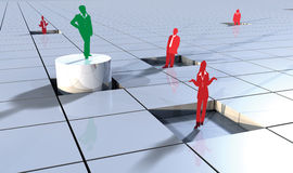 Business people concept on 3d blocks 4. Business concept with people on 3d blocks depicting success or winner Stock Image