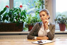 Business  and people concept: Modern business woman in city cafe Royalty Free Stock Images