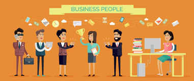 Business People Concept Vector in Flat Design Royalty Free Stock Images