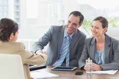 Business people conducting an interview Royalty Free Stock Photos