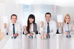 Business people in conference stock images