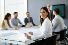 Business young people conference in modern office royalty free stock photo
