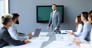 Business people conference in modern meeting room royalty free stock image